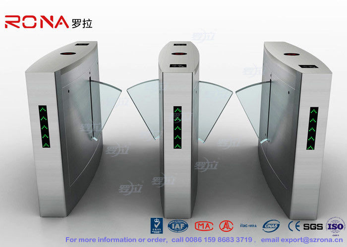 Flap Barrier Gate Organic Glass Retractable RFID Card Reader Counter Speed Gate